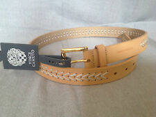 NEW Womens Vince Camuto Belt With Chevron Lacing, White Sand  Belt Size Medium