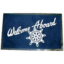Navy Blue Color Welcome Aboard Mat with Heavy Rubber Backing for Boats and Docks