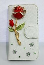3D Bling Diamond Rose Leather Flip Pouch Wallet Cover Case For HTC Cell Phones