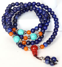 108 6mm Lapis Lazu Gemstone Beads Auspicious Mala Prayer Bracelet & Necklace