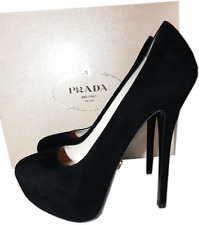 $795 PRADA Black Suede Platform Pump Stiletto Heel Shoes SHoe 41- 10 New