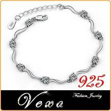 925 Sterling Silver Crystal Rhinestone Bracelet Bangle Ladies Charm Wedding BS15