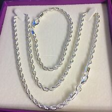 "Boxed set: 925 silver rope chains 20"" necklace and 8"" bracelet Plum UK"