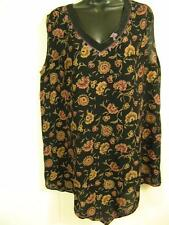 T338~Tienda Ho~BLACK~Monsoon Tank~FLORAL~Pointed~RAYON~Embroidered~ROOMY~OS 1X?