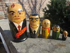 Nesting Dolls ORIGINAL 1986 Matryoshka 5 pieces Russian USSR SOVIET LEADERS