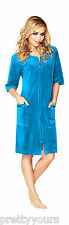 Women's Cotton Bath Robe Housecoat Dressing Gown Dress Velour Bathrobe Zip Up