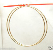 "2mm X 70mm 2 3/4"" Large Plain Shiny Hoop Earrings REAL 14K Yellow Gold"