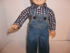 "Denim Overalls with a Plaid Shirt made for18"" American Girl Boy Doll Clothes New"