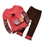2PCS Toddler Kids Baby Girls Outfits Long Sleeve T-shirt Tops +Pants Clothes Set