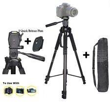 "72"" Tripod For Canon Sony Nikon Camera Free Case BLACK 2 Quick Release Plates"