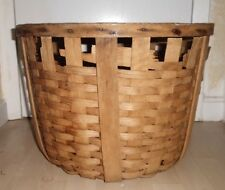 Antique Hand Made Oak Weave Woven Round Large Primitive Apple Peach Basket