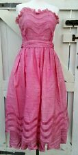 Vintage 50s 60s pink strapless mid ruffle prom dress 10 12
