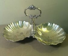 Vintage Silverplate Double Clam Shell Dish Caddy With Handle  Ornate Estate Find