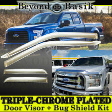 2015-2017 Ford F150 Extended Cab Chrome Door Vent Visors + Hood Guard Bugshield