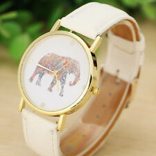 Fashion Women Girl Elephant Printing Patterned Weaved Leather Quartz Dial Watch