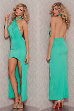 Abito lungo aperto Nudo aderente spacco Nude Cut-Out Back Evening Dress clubwear