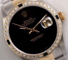 Rolex Mens Datejust 2 Tone 18k -Onyx Dial-Onyx Stone and Diamond Bezel-Quickset