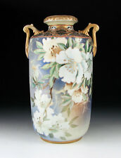 "ANTIQUE NIPPON PORCELAIN 11"" VASE BLUE MARBLED MORIAGE HAND PAINTED FLOWERS"