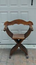 ANTIQUE SAVANOROLA FOLDING ARMCHAIR, THRONE HAND CARVED ,BEAUTIFUL