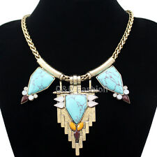 Vintage Gold Aztec Triangle Arrow Turquoise wheat Mesh Chain Zuni Bib Necklace H