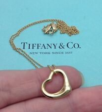 Tiffany & Co. 18k 18ct Gold Elsa Peretti 16mm Open Heart Pendant Necklace