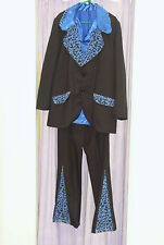 Mens 70s Black Blue Pimp Suit and Blue Shirt Fancy Dress Costume XL  (264)