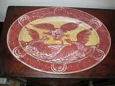 PERIOD ARTS & CRAFTS LUSTRE PLATTER BIRDS CATCHING FISH DE MORGAN STYLE
