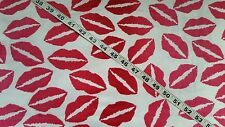 Cotton flannel fabric by the yard lips kiss smooch love quilters print material