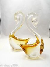 Vintage Venetian Murano Art Glass 2 Yellow Swans