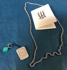 """Authentic James Avery Green Bead Sterling Silver Charm & 16"""" Rolo Chain Necklace"""