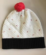 Kate Spade Cupcake Beanie in Black & Cream with Cherry Pom, $72