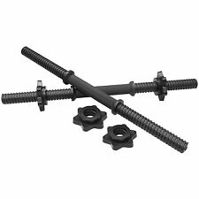 "MIRAFIT 18"" Black Dumbbell Bars & Spinlock Collars Free Weight Plate Handles"