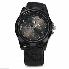 BLACK MILITARY ARMY AIR FORCE SOLDIER POLICE SWAT AIRSOFT CANVAS STRAP WATCH