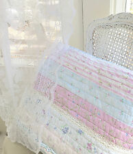 Coverlet Shabby Patchwork White Lace Floral Pink Lavender Queen Quilt Set Chic