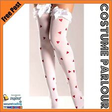 Womens Ladies White Thigh High Stockings With White Bows & Red Hearts