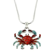 "Red Crab Charm Pendant Necklace - Hand Painted - Sparkling Crystal - 17"" Chain"