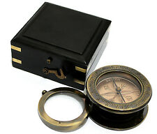 Solid Brass Compass & Copper Dial with 10 X Magnifying Glass with Wooden Box