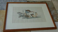 EARLY 20c JAPANESE SHUNGA WOODBLOCK PRINT GALLERY FRAMED  # 6 out of 8