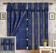 Luxury Lined Curtain Set and Valance Window Treatment 2 Panel LIDA BLUE
