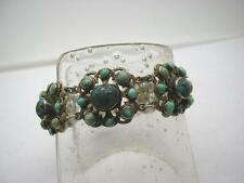Victorian Silver & Natural Turquoise Cluster Panel Bracelet by WM