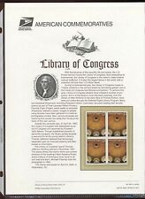 #3390 33c Library of Congress Stamp USPS #600 Commemorative Stamp Panel