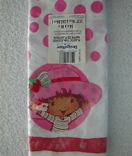 """Vintage ~ STRAWBERRY SHORTCAKE ~ PLASTIC TABLE COVER TABLECLOTH ~ 54"""" x 96"""""""