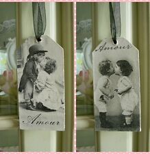 Set of 2 Vintage shabby chic picture plaques Lovely Hand Made Gift Wrapped !