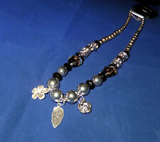 Ladies Fashion Charm Necklace Silver Brown & Black Bead Costume Jewellery