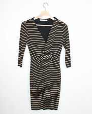 Bailey 44 Black Beige Striped Knit Bodycon Stretch Knit Sheath Dress XS