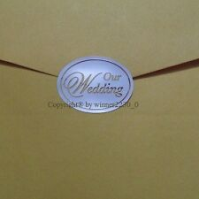 """Select Metallic SILVER or GOLD Envelope Seal """"OUR WEDDING"""" INVITATION Card Craft"""