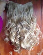 "medium blonde 5 clips one piece wavy curly 22"" long clip in on hair extension"