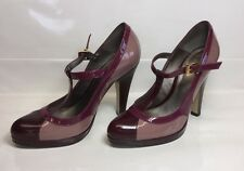 Carvela Ladies Pink Purple Patent Leather 40s Retro T-bar Platform Shoes Size 5