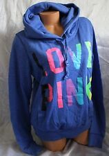 Victorias Secret PINK Hoodie Large L Blue Rainbow Love 86 Baggy Pullover Rare