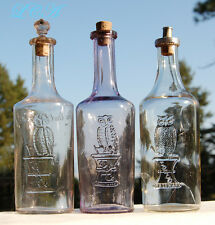RARE set of 3 OWL DRUG CO Bay Rum bottles 1895 -1910- 1920 w/ Owls AND stoppers